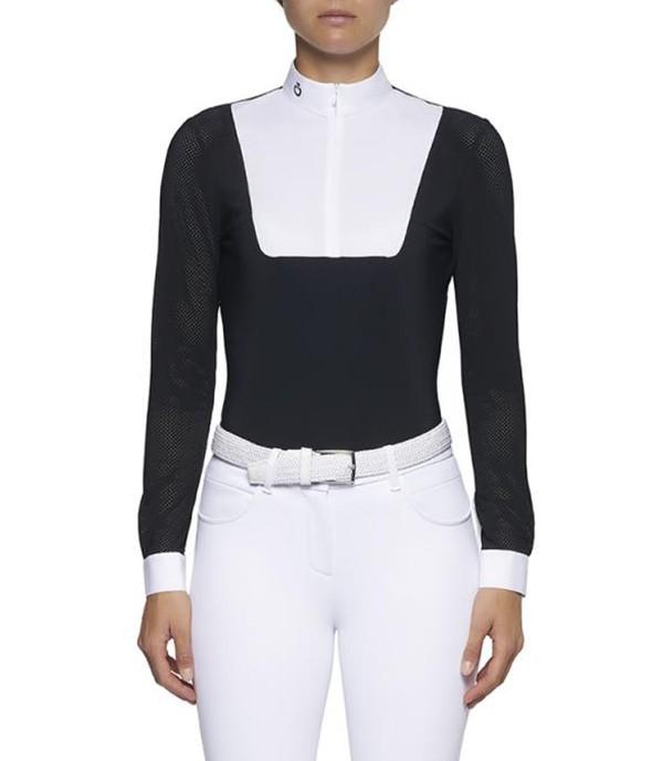 Cavalleria Toscana Damen Turniershirt Perforated Zip, navy