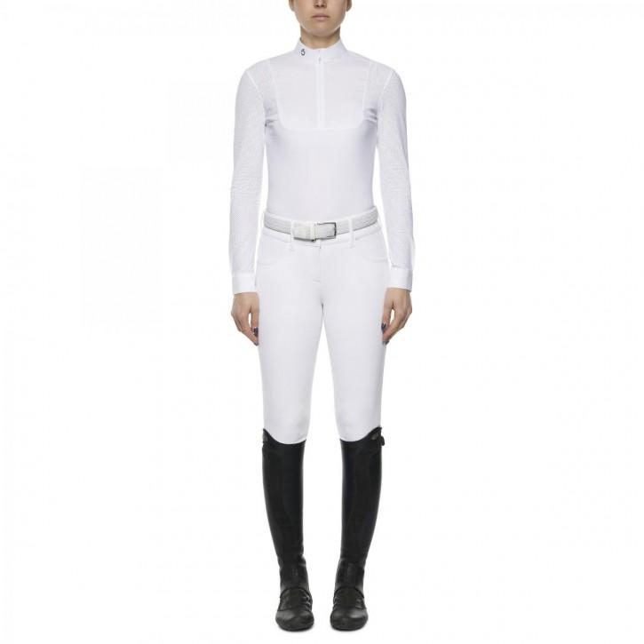 Cavalleria Toscana Damen Turniershirt Perforated Zip, weiss