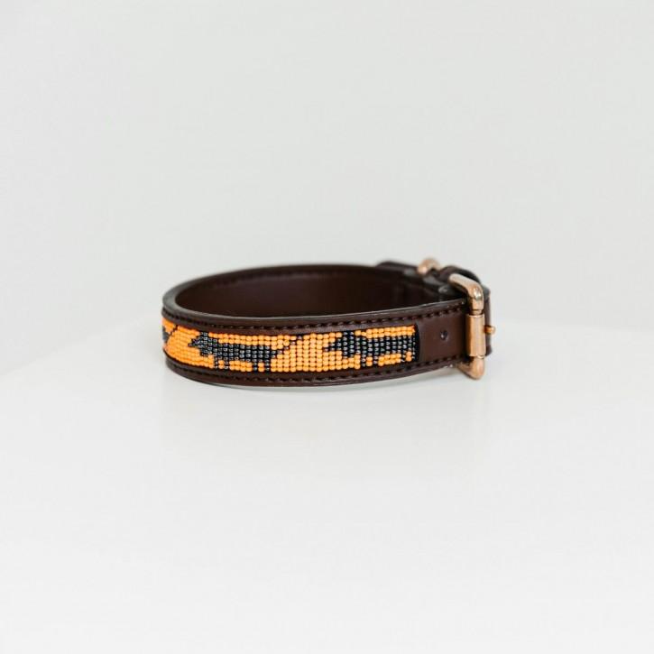 Kentucky Hundehalsband Pearls orange und schwarz