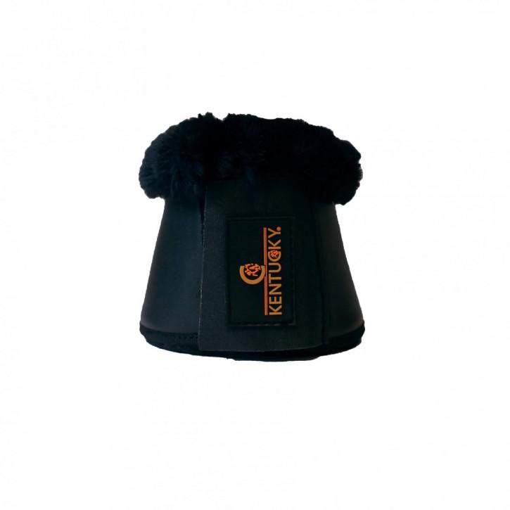Kentucky Hufglocken mit Lederimitat und Fellimitat schwarz/schwarz