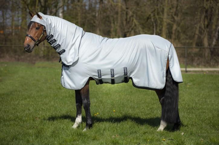 Horseware Fliegen-/ Ekzemerdecke Rambo Hoody Grau/Beige/Blau
