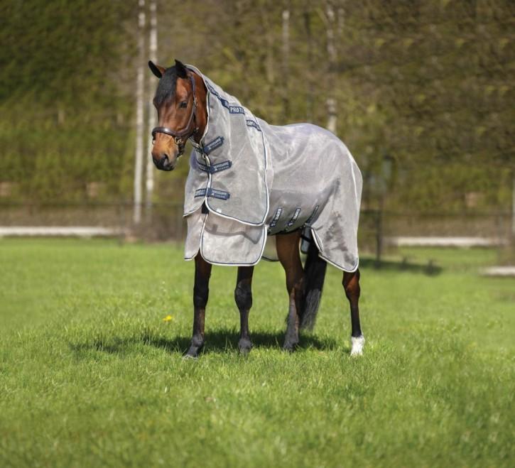 Horseware Fliegendecke Rambo Protector Oatmeat/Navy