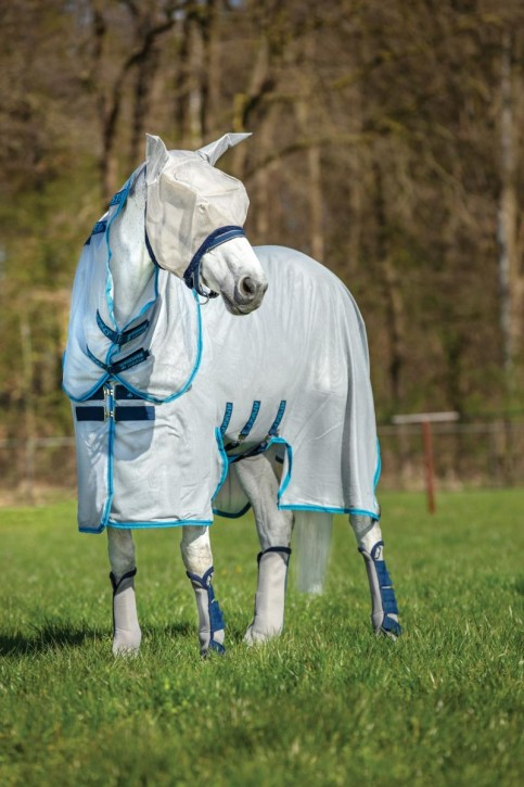 Horseware Amigo Fliegendecke Bug Buster silber/Electric Blue/Navy