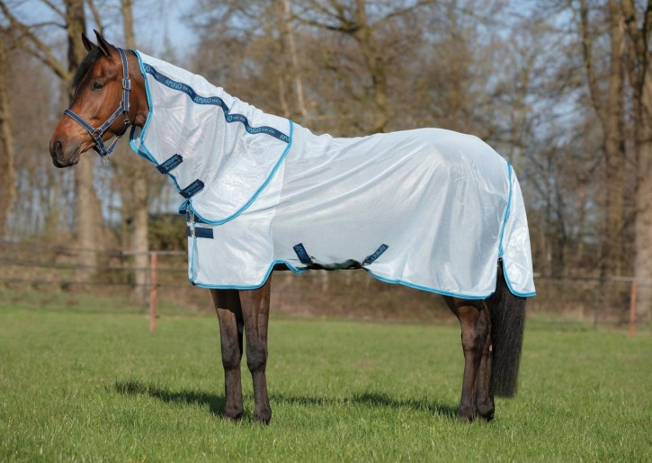 Horseware Amigo Fliegendecke Bug Rug silber/Electric Blue