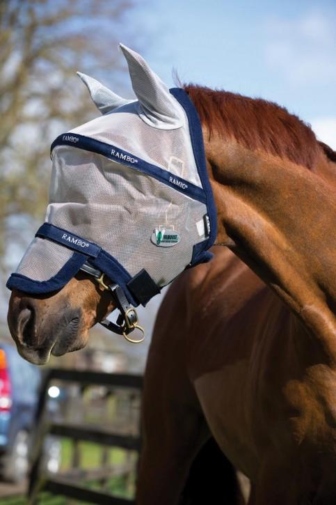 Horseware Rambo Plus Fliegenmaske Silber/Navy