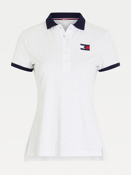 Tommy Hilfiger Equestrian Damen Polo-Shirt Iconic Monogram Weiß