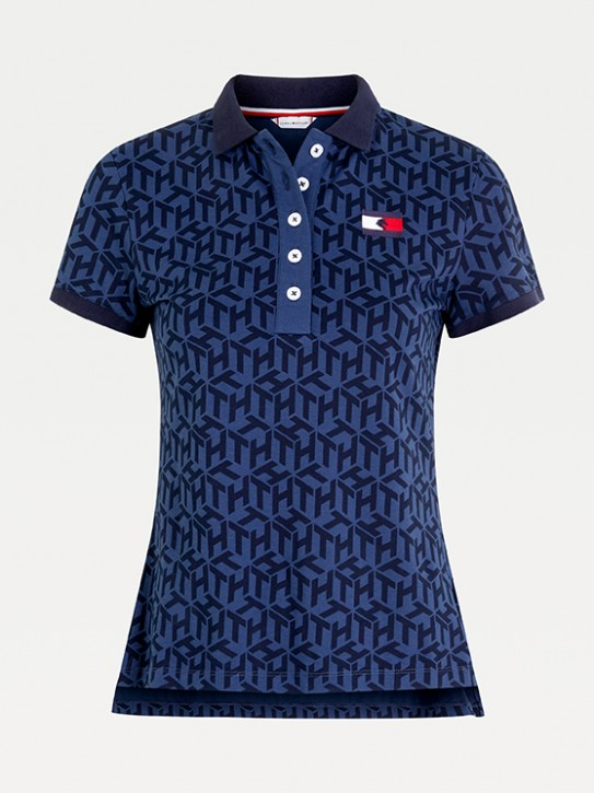 Tommy Hilfiger Equestrian Damen Polo-Shirt Iconic Monogram Navy M