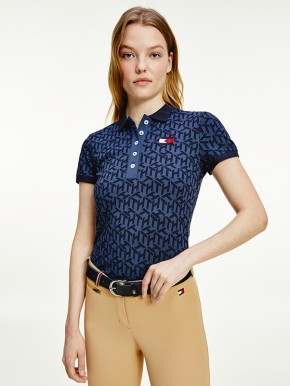 Tommy Hilfiger Equestrian Damen Polo-Shirt Iconic Monogram Navy